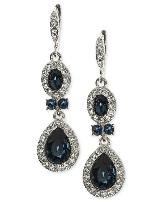 Givenchy - Blue Faceted Stone And Crystal Double Drop Earrings - Lyst