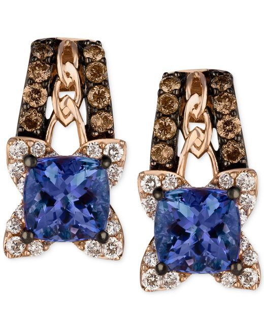 Le Vian | Blue Tanzanite (9/10 Ct. T.w.) And Diamond (3/8 Ct. T.w.) Earrings In 14k Rose Gold | Lyst