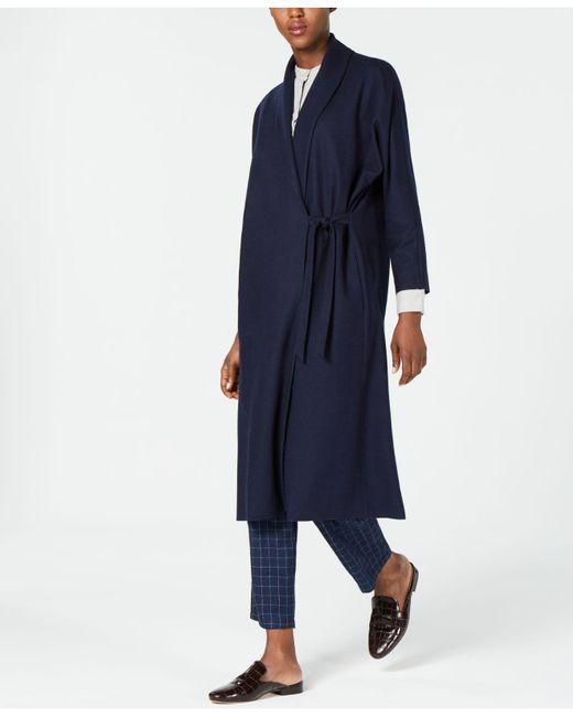 Eileen Fisher - Blue Wool Shawl Collar Tie-waist Jacket - Lyst