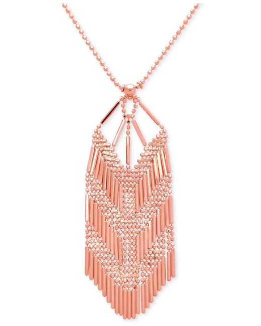 Macy's - Pink Beaded V Pendant Necklace In 14k Rose Gold - Lyst