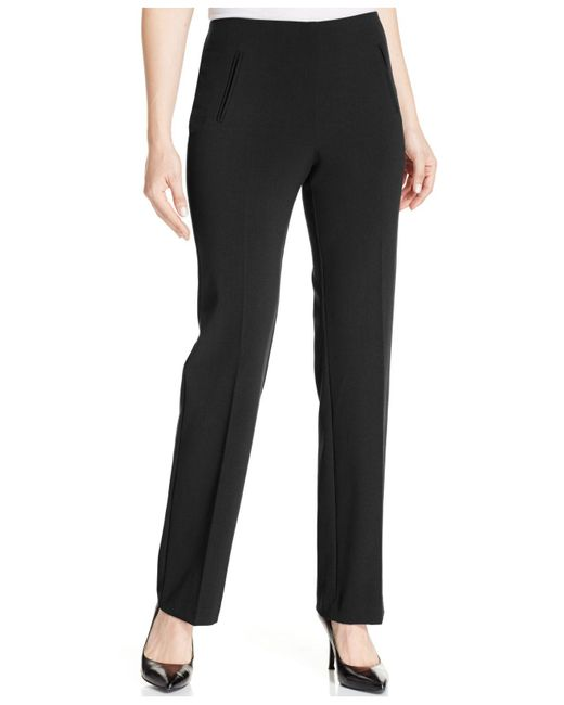 Style & Co. - Black Petite Straight-leg Tummy-control Pants - Lyst
