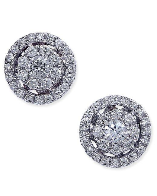 Macy's - Metallic Diamond Cluster Halo Stud Earrings (1/2 Ct. T.w.) In 14k White Gold - Lyst
