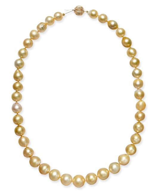 "Macy's - Metallic Baroque Golden South Sea Pearl (9mm) Strand 18"" Collar Necklace - Lyst"