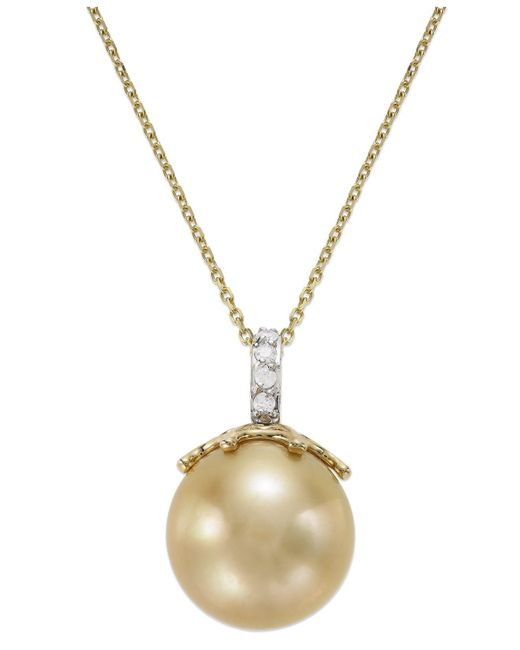 Macy's - Metallic 14k Gold Golden South Sea Pearl (14mm) And Diamond Accent Crown Pendant Necklace - Lyst