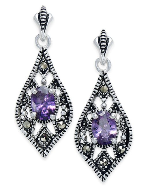 Macy's | Metallic Cubic Zirconia And Marcasite Drop Earrings In Silver-plate | Lyst