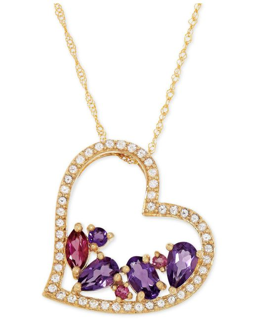 Macy's - Metallic Multi-gemstone Heart Pendant Necklace (1 Ct. T.w.) In 14k Gold - Lyst