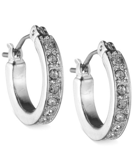 Nine West - Metallic Silver-tone Crystal Hoop Earrings - Lyst