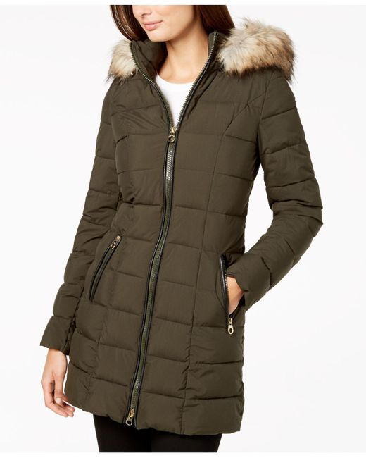 Laundry by Shelli Segal - Green Mixed-media Hooded Puffer Coat - Lyst