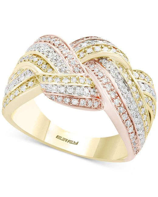 Effy Collection - Metallic Diamond Knot Ring (5/8 Ct. T.w.) In 14k Gold, White Gold & Rose Gold - Lyst
