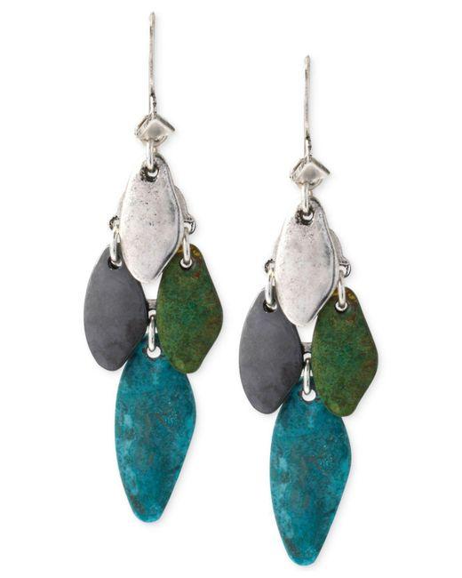 Robert Lee Morris - Green Silver-tone Patina Mixed Bead Chandelier Earrings - Lyst