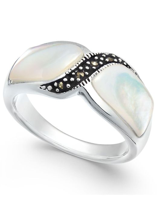 Macy's - Black Marcasite And Mother-of-pearl Ring In Fine Silver-plate - Lyst