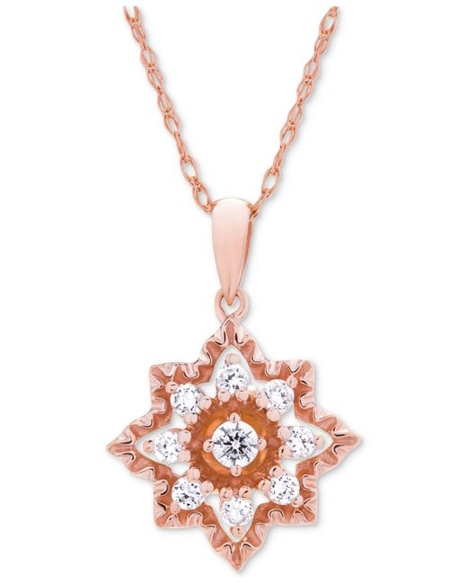 Wrapped in Love - Metallic Diamond Openwork Star Pendant Necklace (1/3 Ct. T.w.) In 14k Rose Gold - Lyst