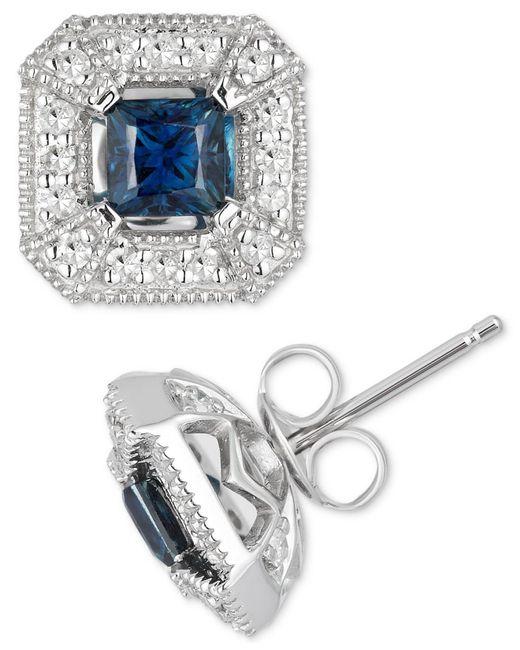Macy's - Metallic Sapphire (1/2 Ct. T.w.) & Diamond (1/4 Ct. T.w.) Stud Earrings In 10k White Gold - Lyst