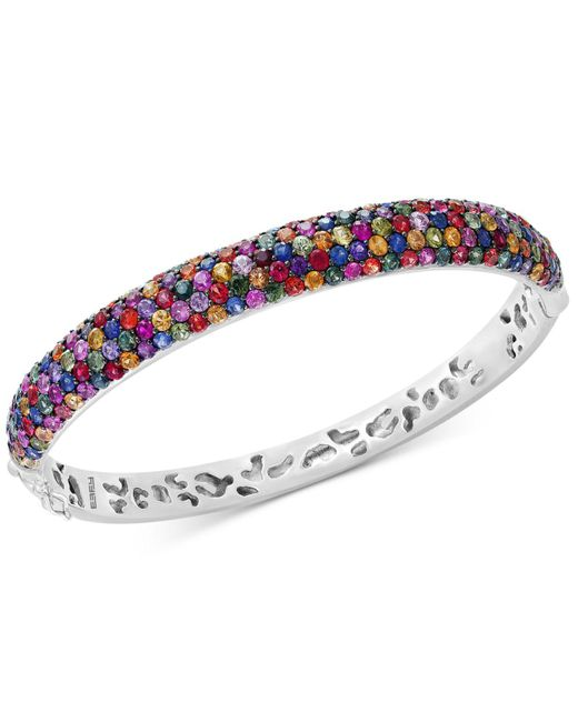 Effy Collection   Metallic Multicolor Sapphire Bangle Bracelet (10-1/2 Ct. T.w.) In Sterling Silver   Lyst