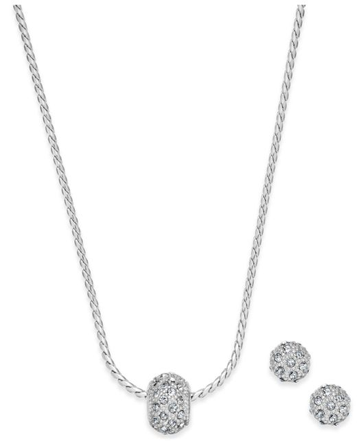 Charter Club | Metallic Silver-tone Pavé Ball Pendant Necklace And Stud Earrings Set | Lyst