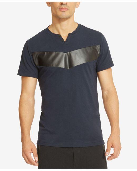 Kenneth Cole Reaction | Blue Men's Split-neck Faux Leather Pieced T-shirt for Men | Lyst