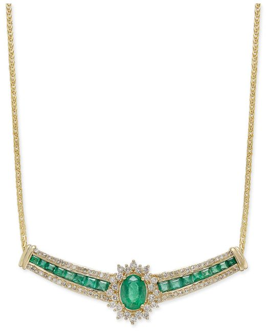 Macy's - Metallic Emerald (2-1/3 Ct. T.w.) And Diamond (3/4 Ct. T.w.) Collar Necklace In 14k Gold - Lyst