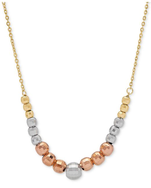 "Macy's - Metallic Tricolor Graduated Bead 18"" Statement Necklace In 10k Gold, White Gold & Rose Gold - Lyst"