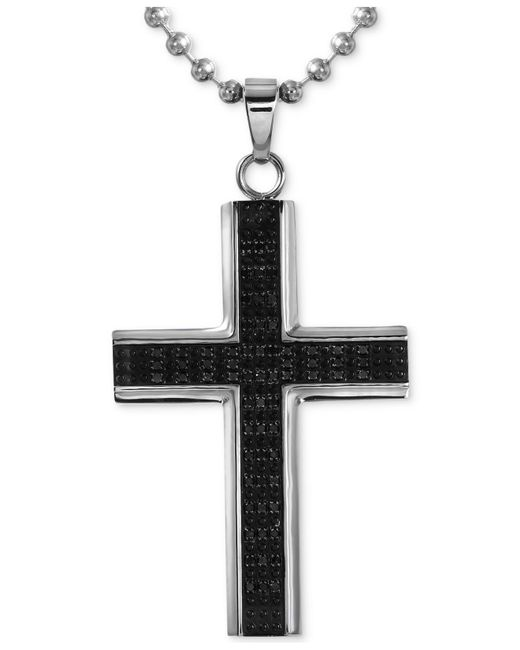 Macy's - Black Men's Diamond Cross Pendant Necklace (1/2 Ct. T.w.) In Stainless Steel With Rhodium Plating for Men - Lyst