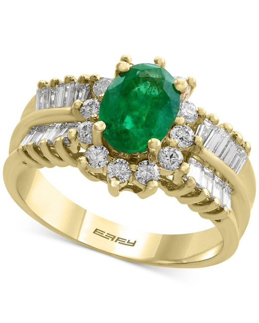 Effy Collection - Green Emerald (1-1/8 Ct. T.w.) And Diamond (7/8 Ct. T.w.) Ring In 14k Gold - Lyst
