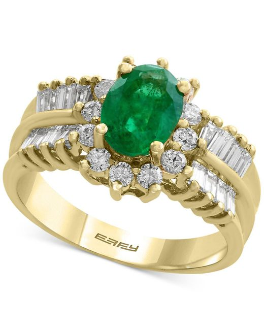 Effy Collection | Green Emerald (1-1/8 Ct. T.w.) And Diamond (7/8 Ct. T.w.) Ring In 14k Gold | Lyst