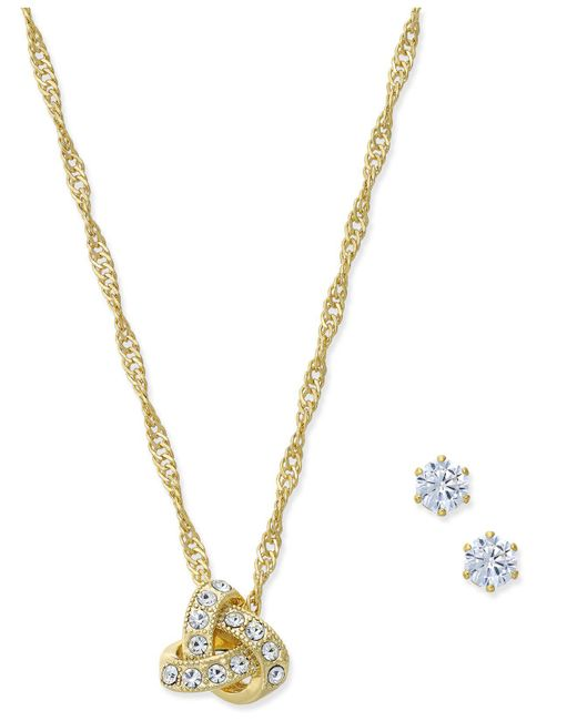 Charter Club   Metallic Gold-tone Crystal Knot Pendant Necklace & Stud Earrings Set   Lyst