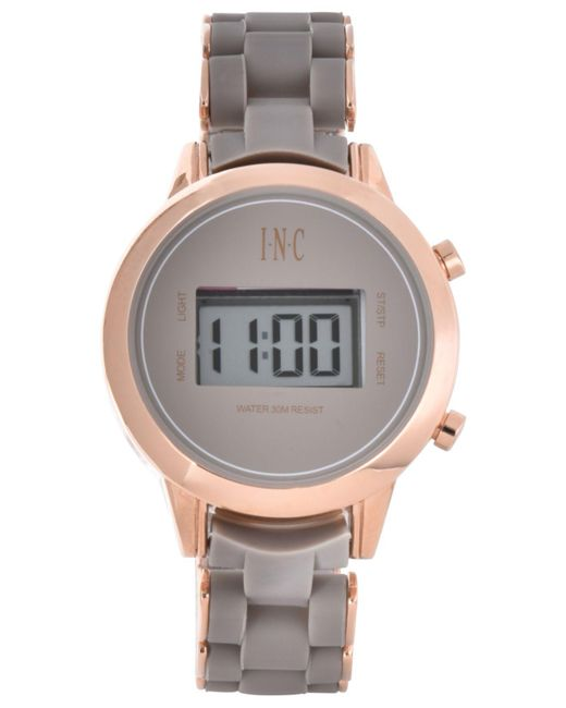 INC International Concepts - Gray Digital Boyfriend Rose Gold-tone & Silicone Bracelet Watch 36mm, Created For Macy's - Lyst