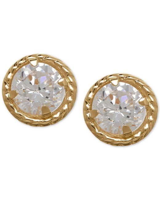Macy's - White Cubic Zirconia Circle Stud Earrings In 10k Gold - Lyst