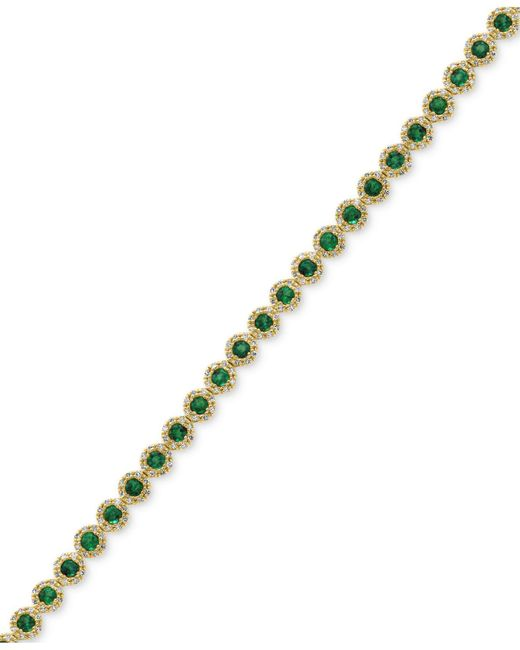 Effy Collection - Metallic Emerald (3-1/4 Ct. T.w.) And Diamond (1 Ct. T.w.) Tennis Bracelet In 14k Gold - Lyst