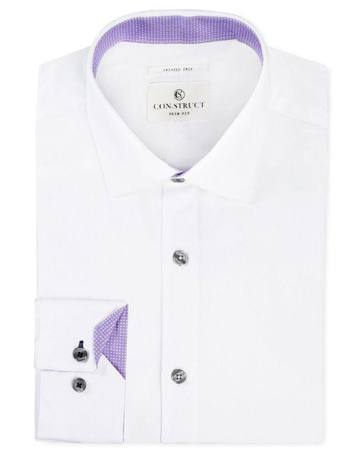 Con.struct - Purple Slim-fit Stretch White Twill Dress Shirt for Men - Lyst