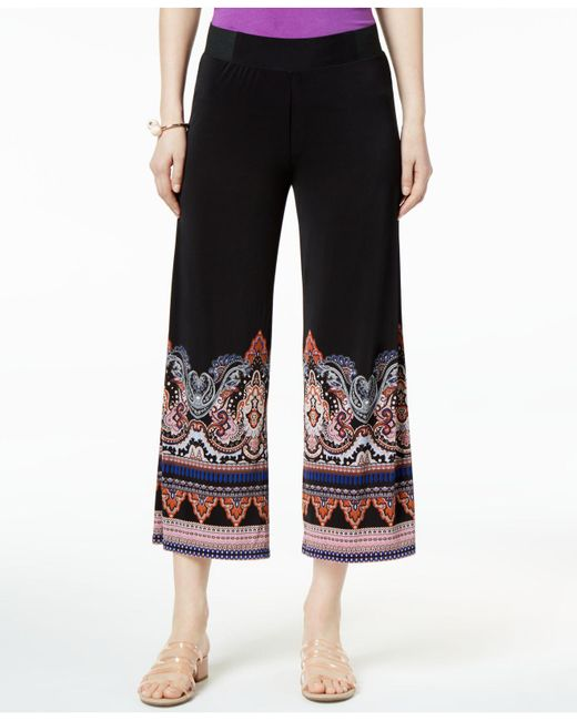 INC International Concepts - Black I.n.c. Cropped Printed-hem Pull-on Pants, Created For Macy's - Lyst