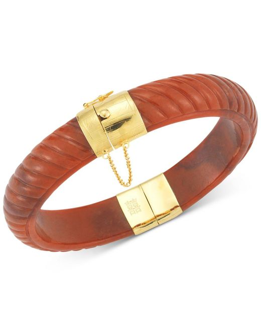 Macy's | Red Dyed Jadeite Bangle Bracelet In 14k Gold Over Sterling Silver | Lyst