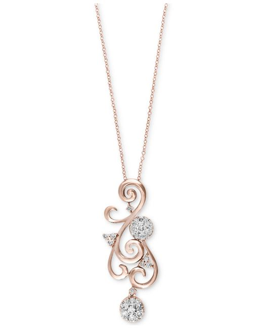 Effy Collection - Metallic Diamond Swirl Pendant Necklace (5/8 Ct. T.w.) In 14k Gold Or Rose Gold - Lyst