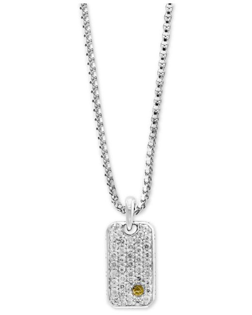 Effy Collection | Metallic Men's White Sapphire Cluster Dog Tag Pendant Necklace (1-3/8 Ct. T.w.) In Sterling Silver & 18k Gold | Lyst