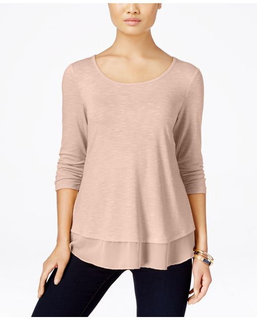 Style & Co. | Pink Chiffon-hem Three-quarter-sleeve Top | Lyst
