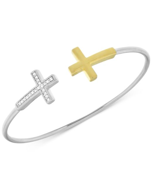 Wrapped in Love | Metallic Diamond Double Cross Flexie Bangle Bracelet In (1/6 Ct. T.w.) In Sterling Silver And 14k Gold-plate | Lyst
