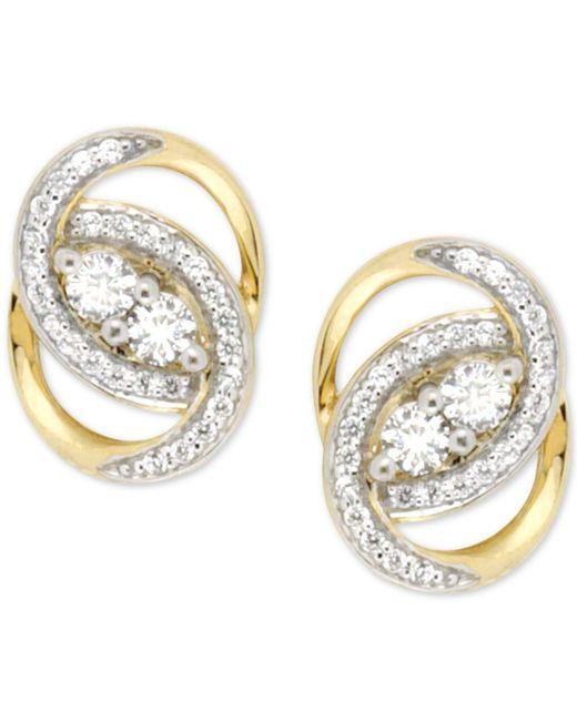 Wrapped in Love - Metallic Diamond Oval-link Earrings (1/2 Ct. T.w.) In 14k Gold - Lyst