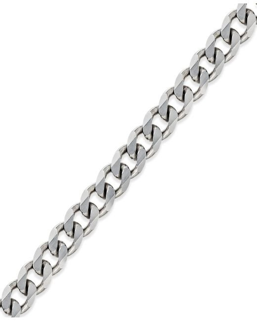 Macy's | Metallic Men's Curb Chain Bracelet In Sterling Silver for Men | Lyst