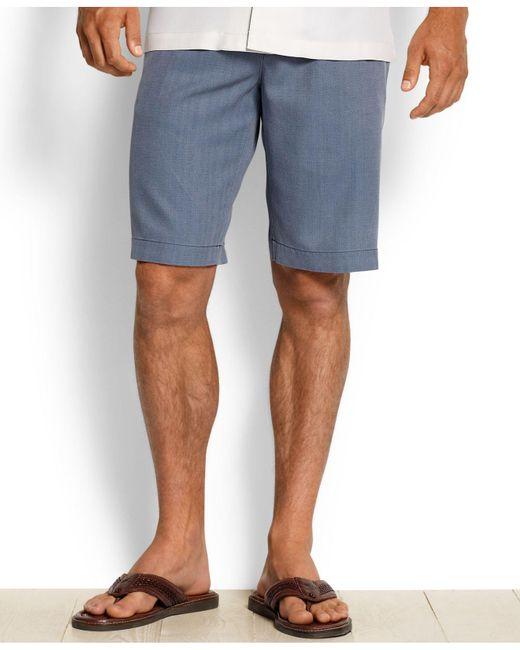 Tommy Bahama Blue Men's Havana Herringbone Shorts for men
