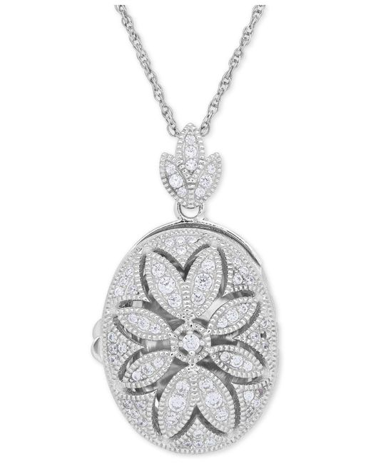 Macy's - Metallic Cubic Zirconia Oval Floral Locket Pendant Necklace In Sterling Silver - Lyst