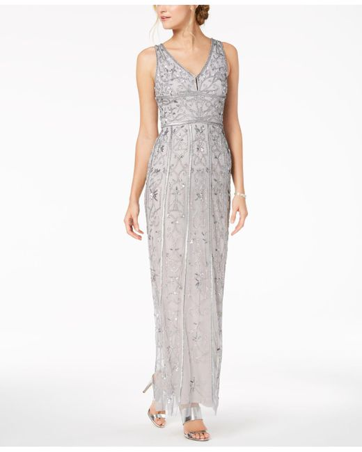 Lyst - Adrianna Papell Beaded Gown in Gray