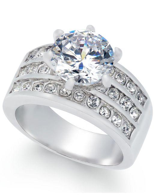 Charter Club - Metallic Silver-tone Crystal Triple-row Ring - Lyst