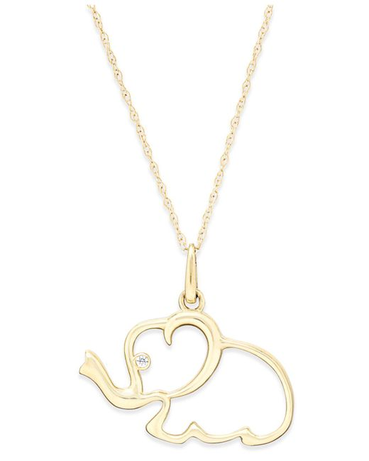 Macy's - Metallic Cubic Zirconia Elephant Pendant Necklace In 10k Gold - Lyst
