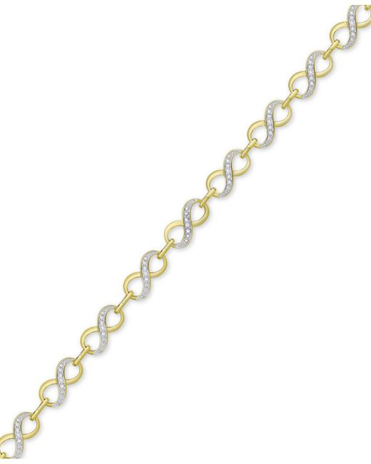 Macy's - Metallic Diamond Accent Infinity Link Bracelet In 18k Gold Over Silver-plate - Lyst