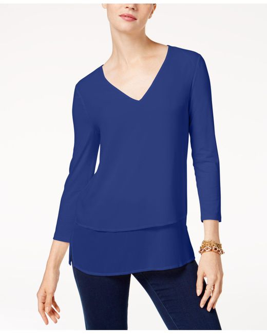 Michael Kors | Blue Layered-look Top | Lyst