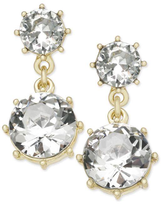 Charter Club | Metallic Gold-tone Crystal Drop Earrings | Lyst