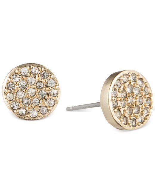 Anne Klein - Metallic Crystal Pavé Button Stud Earrings - Lyst