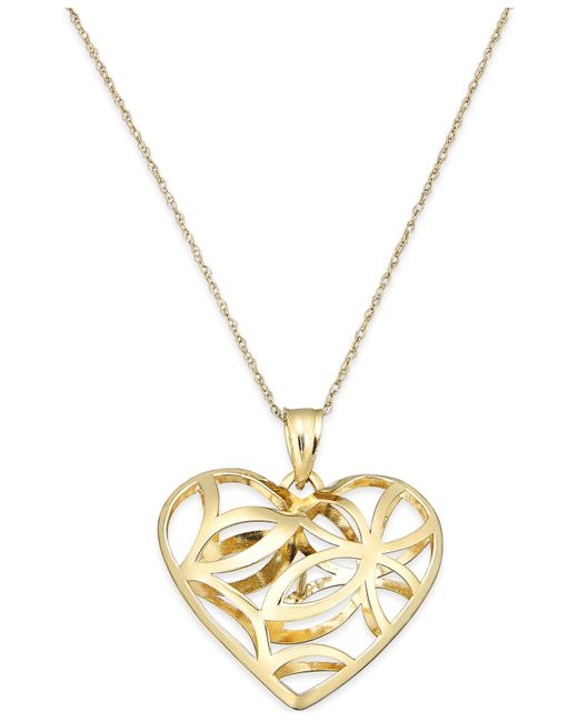 Macy's - Metallic Openwork Heart Pendant Necklace In 10k Gold - Lyst