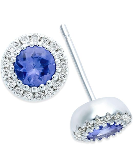 Macy's - Metallic Tanzanite (1/2 Ct. T.w.) And Diamond Accent Stud Earrings In 14k White Gold - Lyst