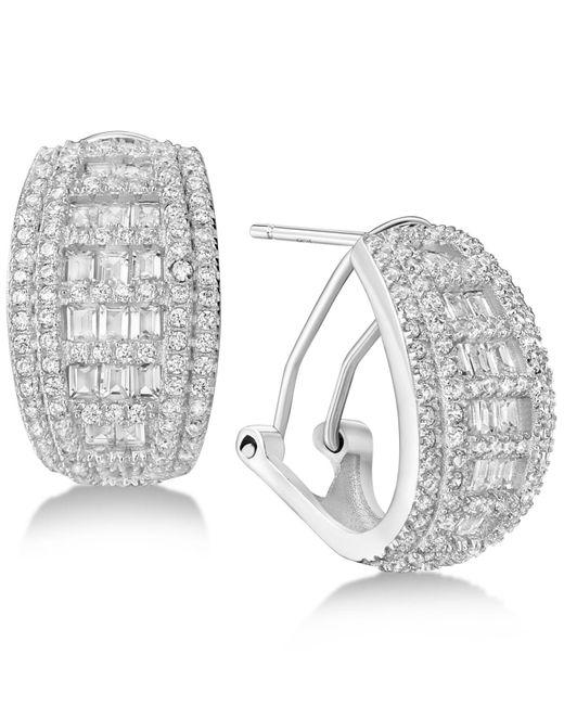 Macy's - Metallic Cubic Zirconia Small Baguette Hoop Earrings In Sterling Silver - Lyst